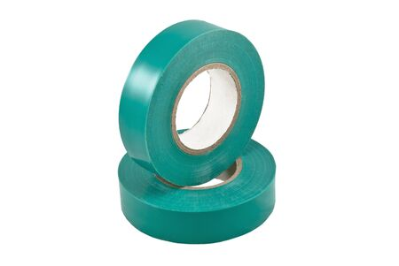 Colored adhesive tape on a white background. Isolated  photo