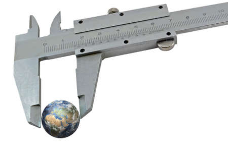 overuse: Earth squeezed with a calipers on a white background