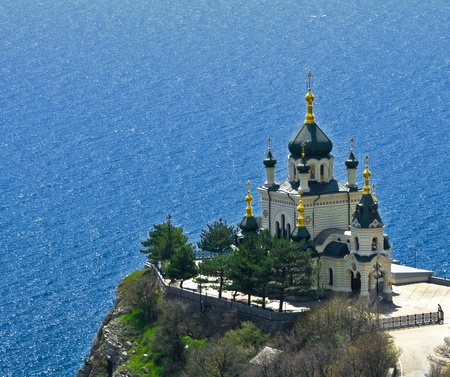 The Church of the Resurrection of Christ (Church On The Rock), Foros, Crimea, Ukraine.   Stock fotó