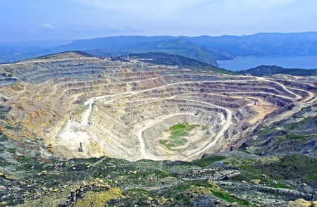 open pit: Open pit mine in Balaklava near Sevastopol city