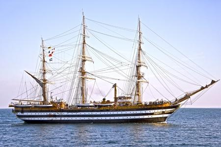 美しい古い木製帆船 写真素材