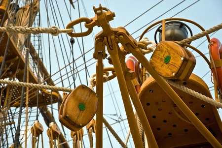 The Sailboat wooden marine rigs and ropes photo