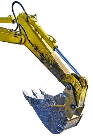 cargador frontal: Excavadora de brazo en el fondo blanco