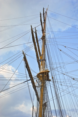 Mast and guy cables of sailing vessel  photo