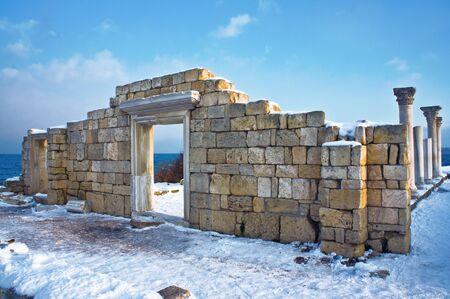 Ruins and column in a Khersones. Crimea. photo