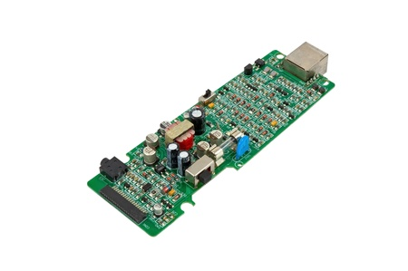 The modern printed-circuit board with electronic components