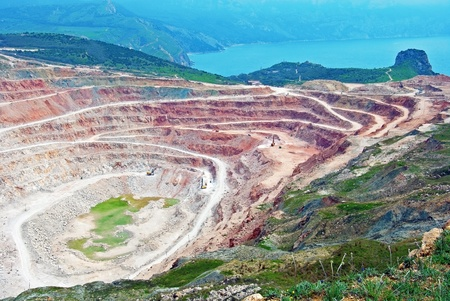 open pit: Open pit mine in Balaklava near Sevastopol city Stock Photo