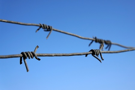 Closeup of rusty barbed wire