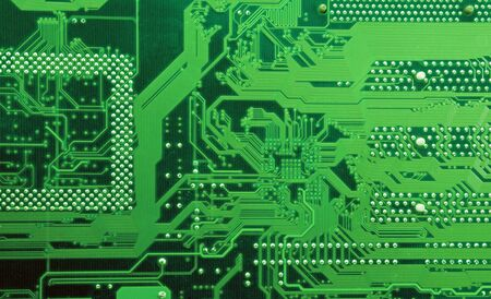 Green circuit board without components photo