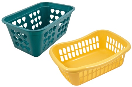 Empty plastic basket isolated on white background Stock Photo - 15481984