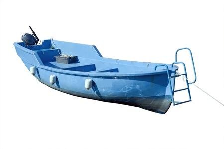 Blue boat isolated over white background Stock Photo - 16307949
