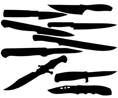 outlaws: silhouettes of knives on a white background