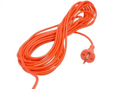 riek: elektrische kabel geïsoleerd op wit Stockfoto