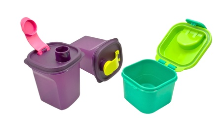 tupperware: colorful plastic container over white background Stock Photo