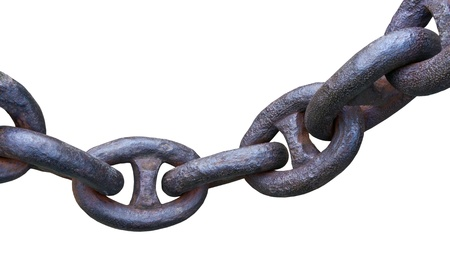 Old anchor chain on a white background
