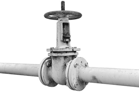 old metal pipe with valve photo