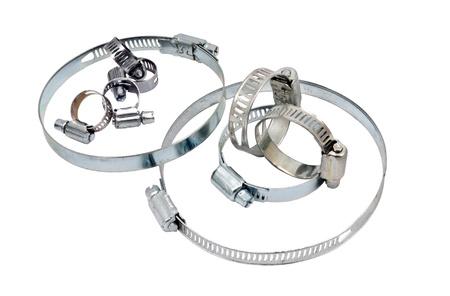 クローズ アップねじ式または白い背景に、ギア駆動のホースク ランプ 写真素材