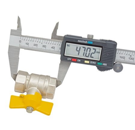Water valve set and Vernier caliper isolated on white background photo