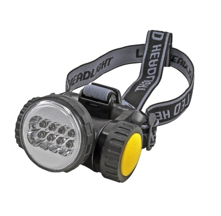 The small head-mounted flashlight on white background photo