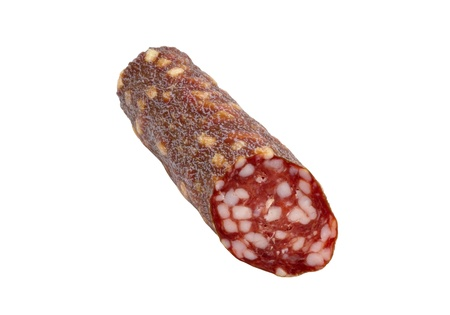 gastronome: Smoked sausage   Isolated on a white  Stock Photo