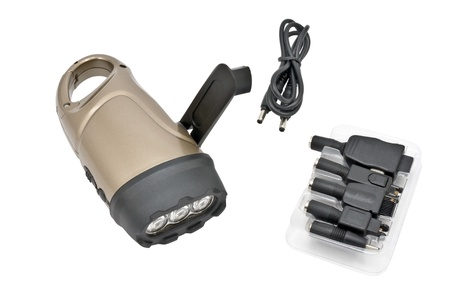 dynamo: Modern electric torch on a white background Stock Photo