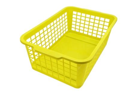 白い背景で隔離の空のプラスチック バスケット 写真素材