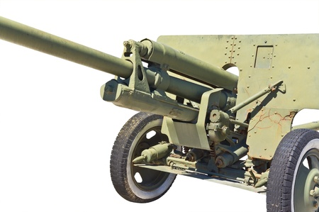 vehement: Old Soviet cannon  on white background Stock Photo