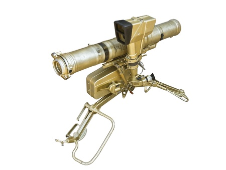 firepower: russian rocket launcher isolated over white background Stock Photo