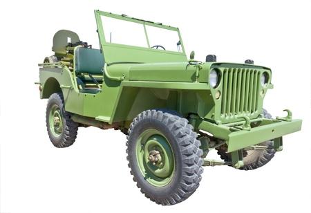 wwii:  world war 2 era US army jeep with machine gun
