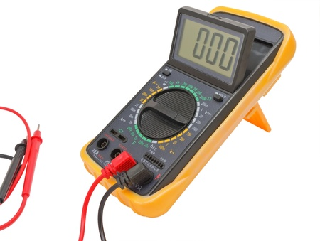 Black color digital multimeter isolated on white background