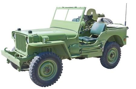 jeep:  world war 2 era US army jeep with machine gun
