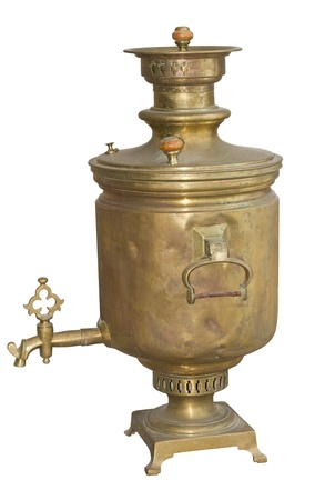 Beautiful vintage samovar, on a white background photo