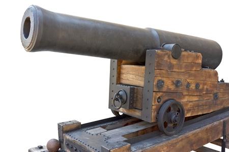 要塞でレトロな黒い金属製の銃