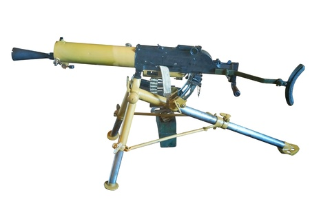 tactical: the Old machine gun on white background