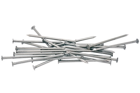 Group of nails on the white background
