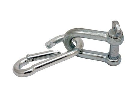 shackle: Metal link, shackle. Isolated on white.