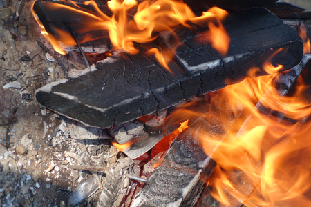 lurid: the Burning woods in a brazier  Stock Photo