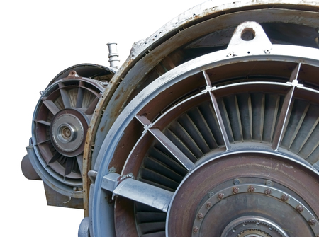 Close up image of the front of a Jet Fighter engine  photo