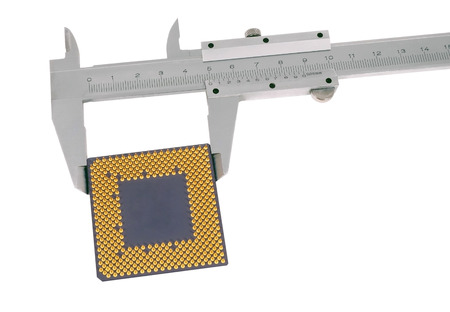 Vernier caliper measures the CPU On a white background photo