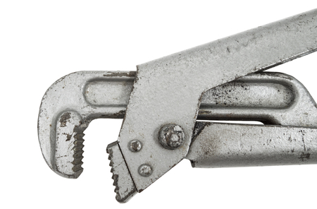 crescent wrench: vintage pipe wrench isolated over a white background  Stock Photo