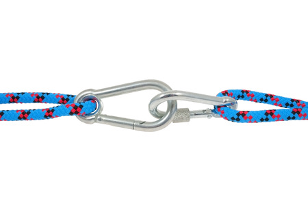 carabiner: Isolated climbing equipment - carabiner and rope