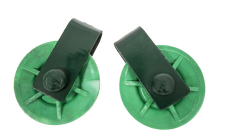pulleys: two green Pulleys on white