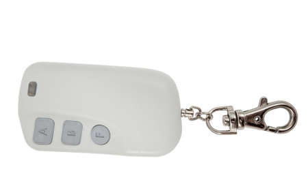 signaling: Car trinket and close up of the key ring  isolated on white  Stock Photo