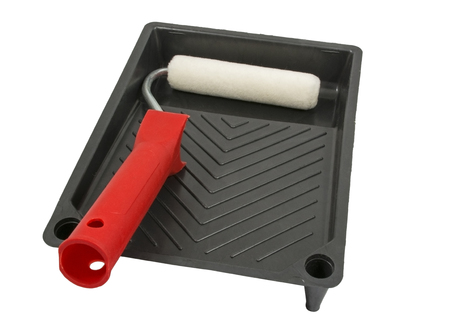Paint-roller and tray on a white background