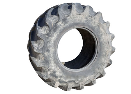Tractor tire on white background  photo