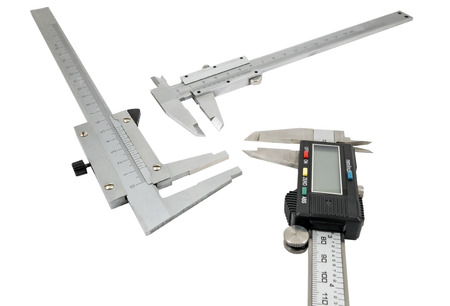 Vernier calipers isolated on white background photo