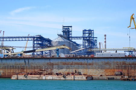 Port warehouse with  industrial cargoes  photo