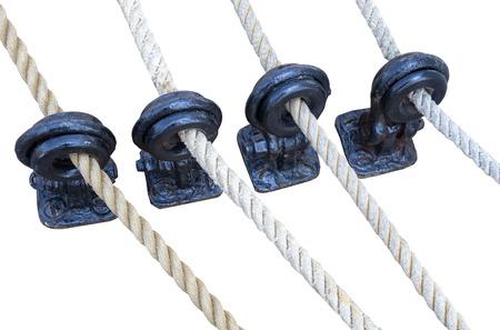 pulleys: poleas de vela de madera y cuerdas detalle