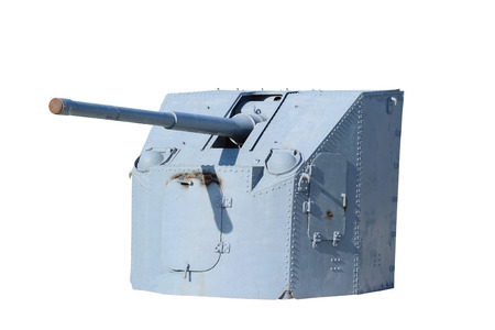 Naval Gun. World War II. Isolated on white photo