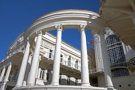 courthouse: Overhead part of large white columns Stock Photo